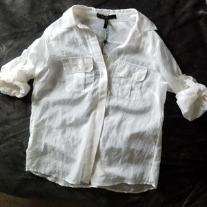 Convertible White Button Down L/S BCBG MAX AZRIA